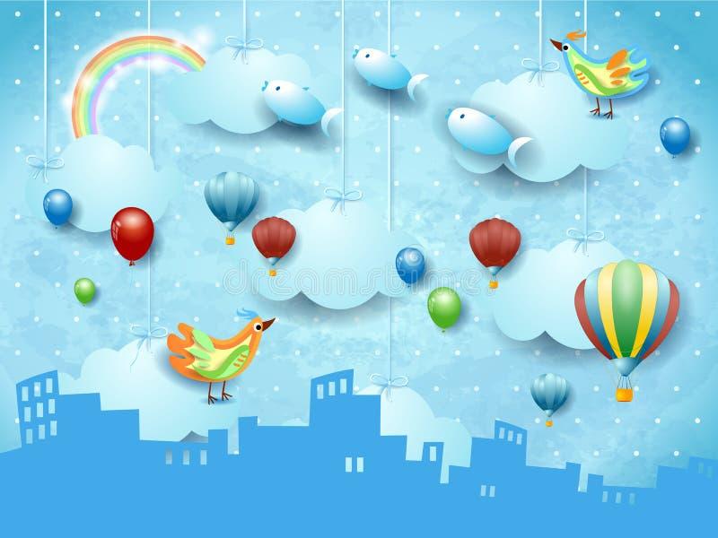 与地平线、气球、鸟和飞行的fisches的超现实的风景 库存例证