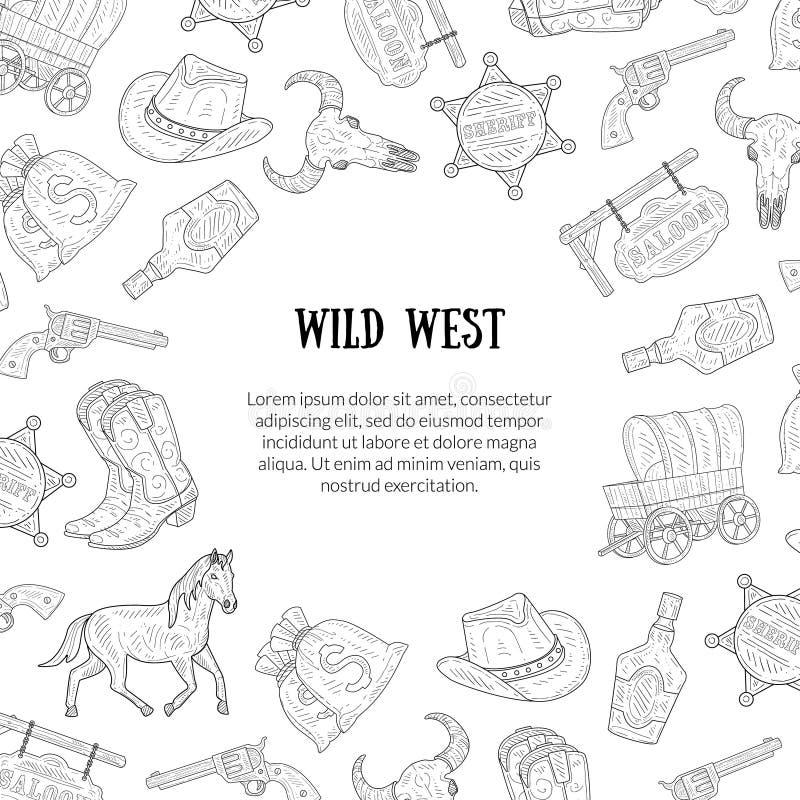 与地方文本的,西部,牛仔手拉的标志的狂放的西部横幅模板仿造单色传染媒介例证 向量例证