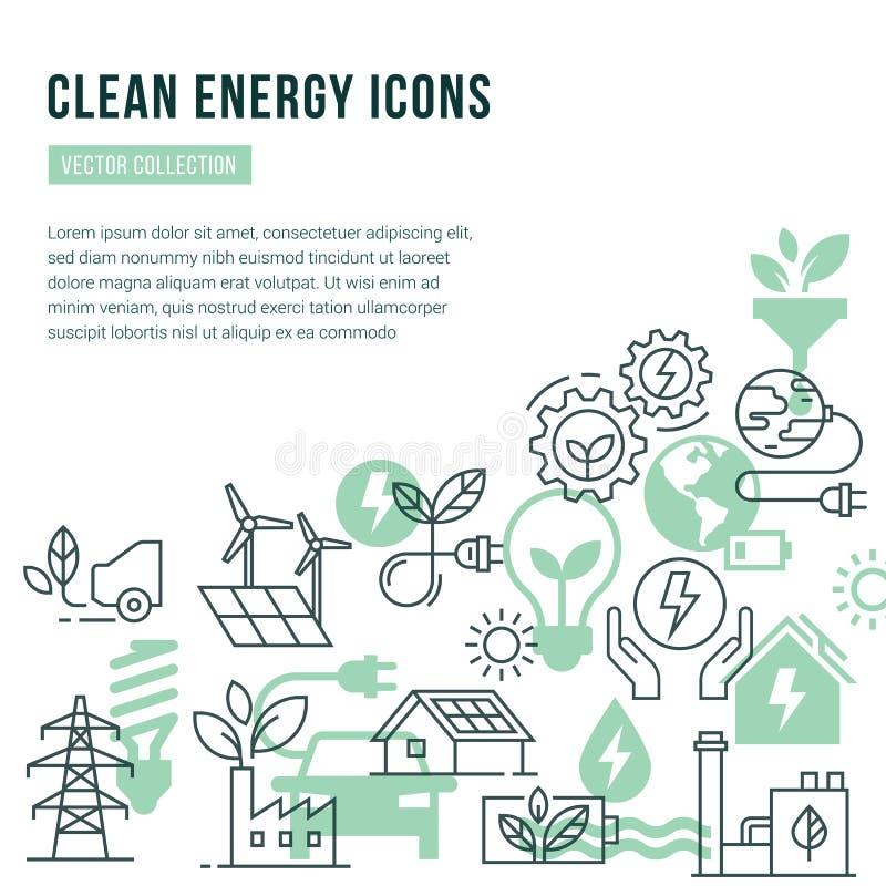 与地方的传染媒介模板被设置的文本和被隔绝的象的绿色能量题材的  向量例证