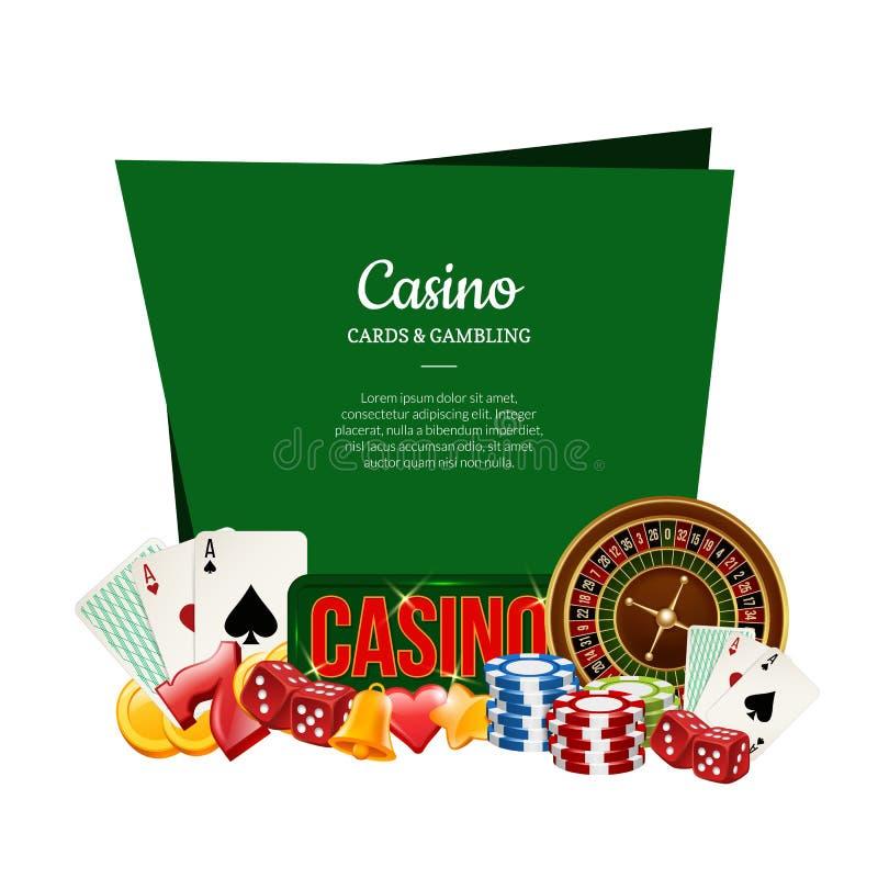 与地方的传染媒介现实赌博娱乐场赌博文本例证的 库存例证