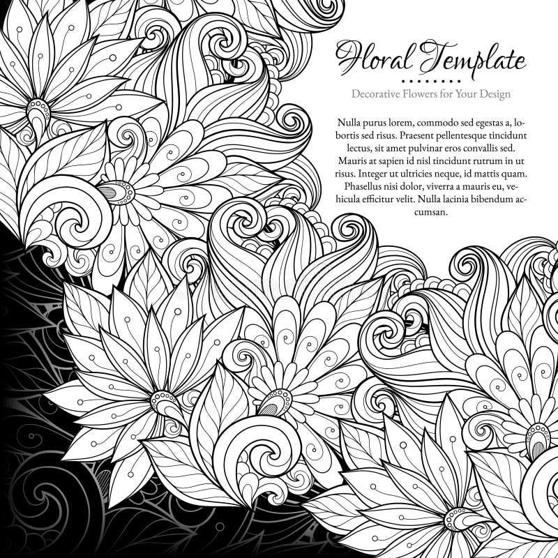 与地方的传染媒介单色花卉模板文本的 皇族释放例证