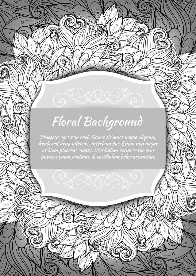 与地方的传染媒介单色花卉模板文本的 库存例证
