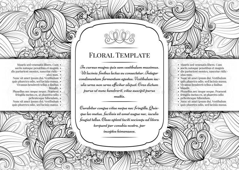 与地方的传染媒介单色花卉模板文本的 向量例证