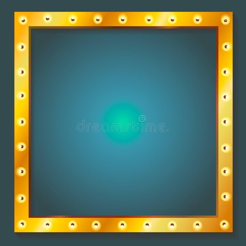 与地方的减速火箭的光亮的框架电灯泡横幅 库存例证