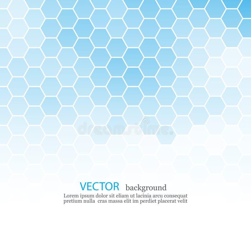 与地方的抽象蓝色六角形背景文本的EPS10 免版税库存照片