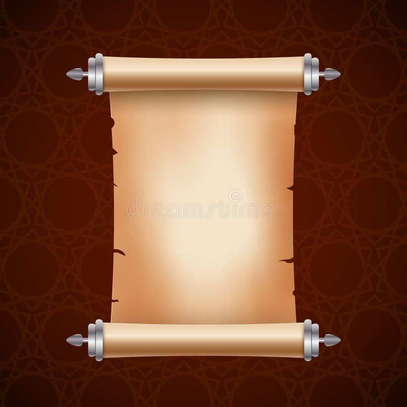 与地方的老古老纸卷纸文本的 老文件例证 纸莎草parchament横幅 古色古香的滚动 皇族释放例证