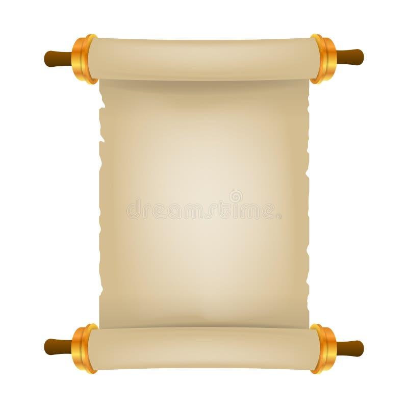 与地方的老纸卷文本的 现实的羊皮纸 葡萄酒白纸纸卷 皇族释放例证