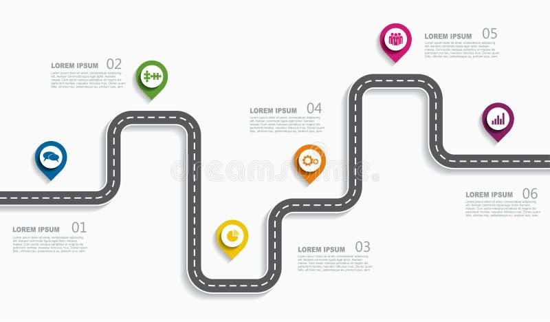 与地方的航海路线图infographic时间安排概念您的数据的 也corel凹道例证向量 库存例证