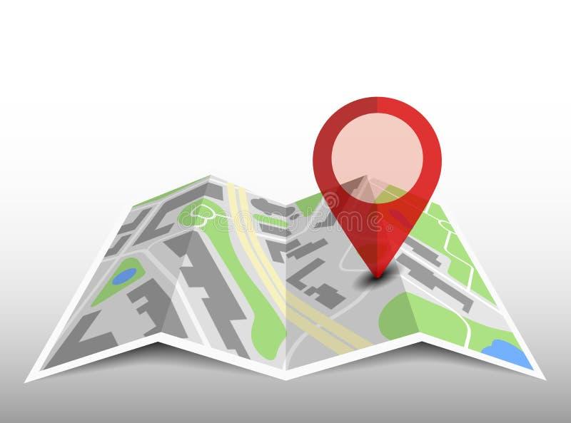 与地点别针和阴影的普通被折叠的地图 向量例证