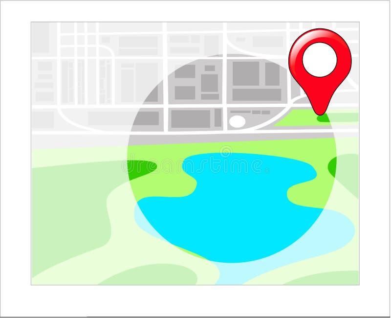 与地点的GPS地图的 库存例证
