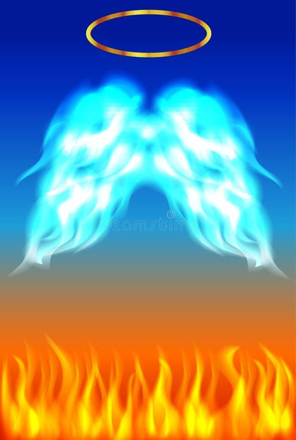 与地狱火和天使的蓝色和橙色背景飞过与金黄雍容 库存例证