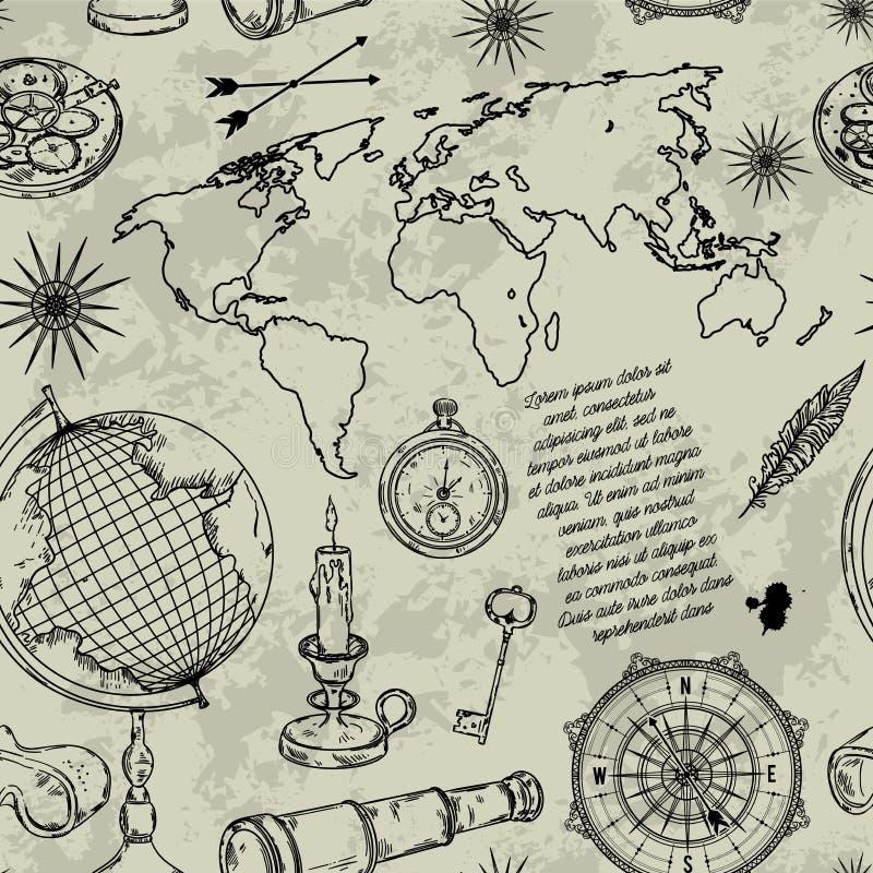 与地球、指南针、世界地图和风的无缝的样式上升了 葡萄酒在steampunk样式设置的科学对象 向量例证