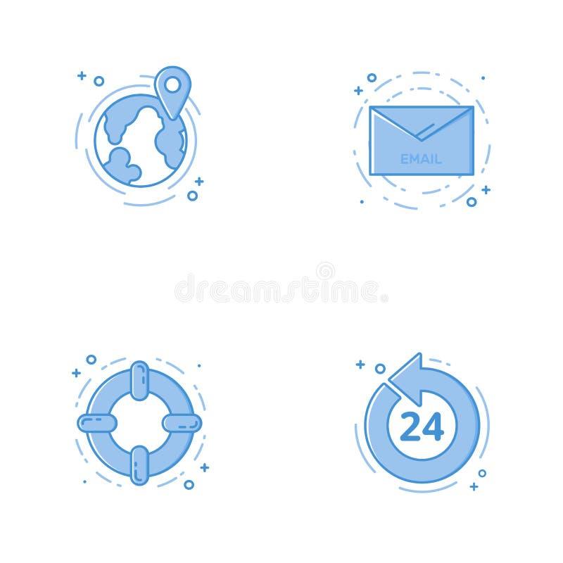 与地球、电子邮件,帮助圈子和24 7的象 免版税库存图片