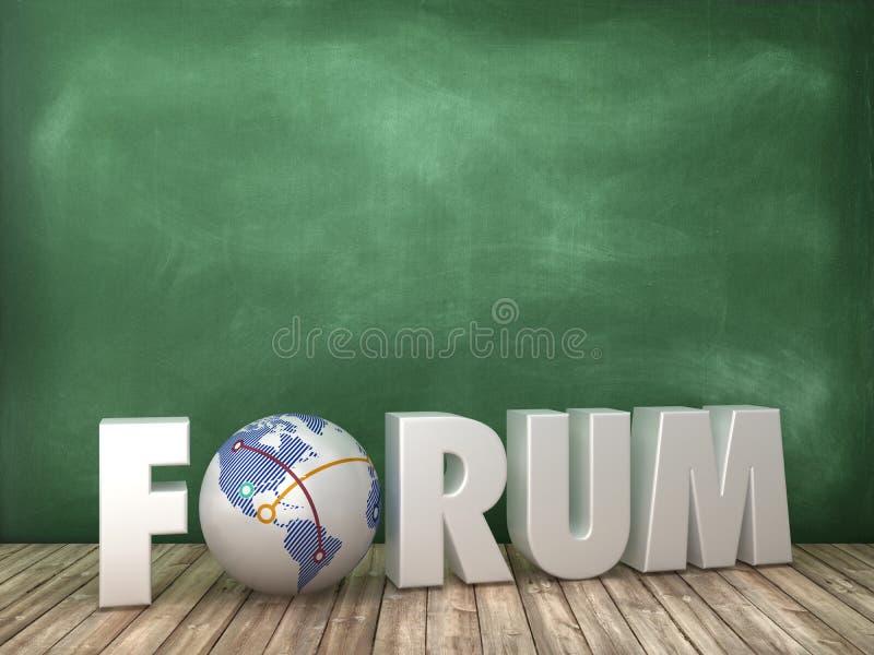 与地球世界的论坛3D词在黑板背景 皇族释放例证