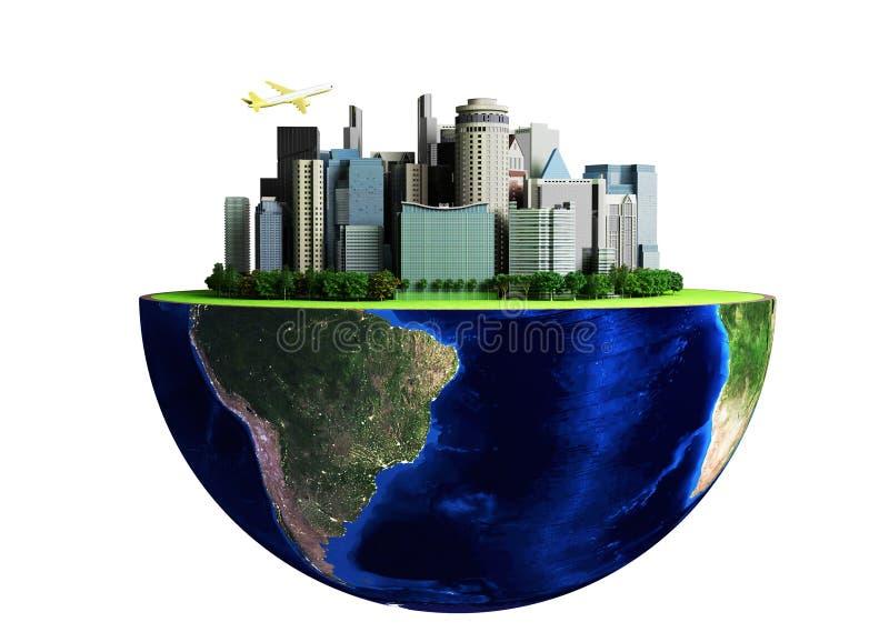 与地球和城市的都市化概念抽象绿色backg的 向量例证
