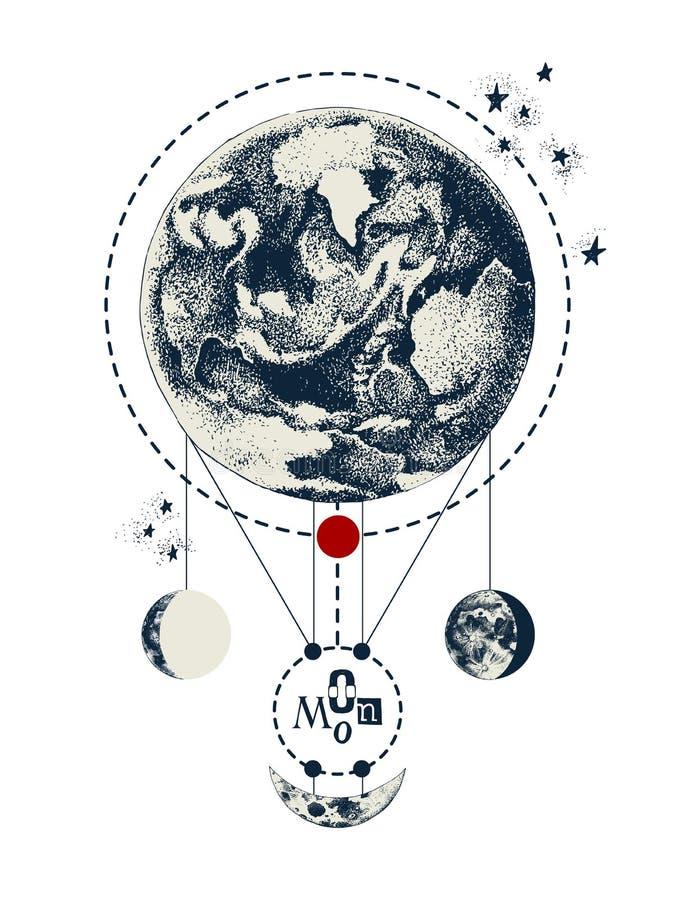 与地球和月亮的神圣的几何背景 库存例证