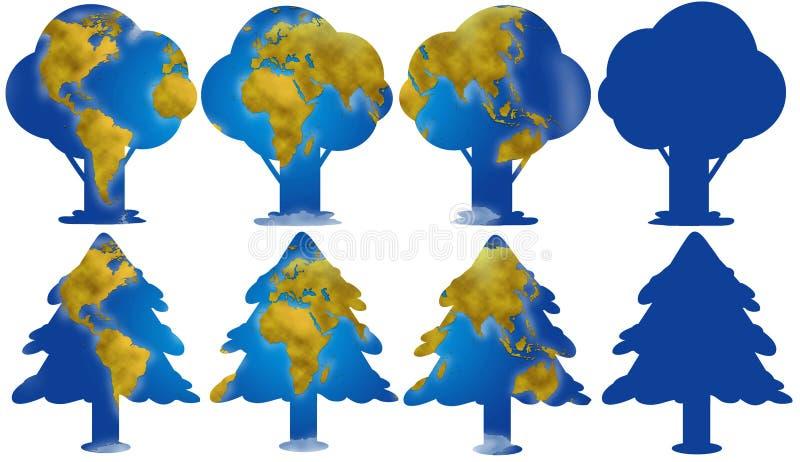 与地球地图的树剪影 库存例证