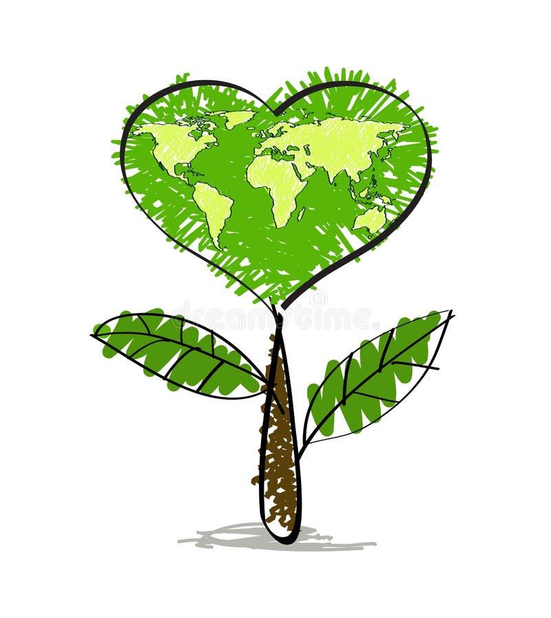 与地球地图的绿色心脏树 皇族释放例证
