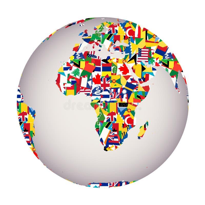 与地球地球和所有旗子的全球化概念 库存例证