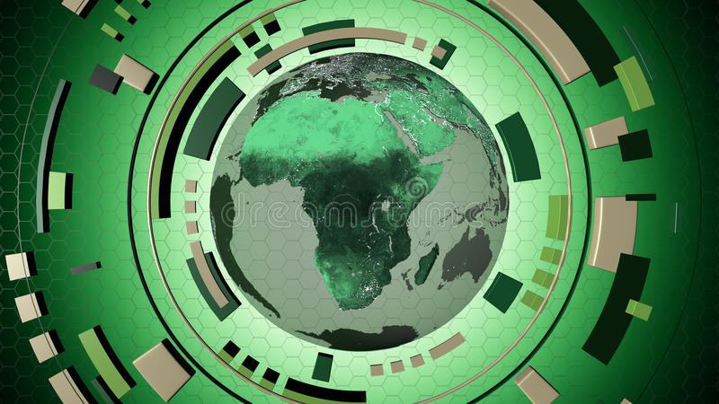 与地球地球的交互式媒介hud 库存例证