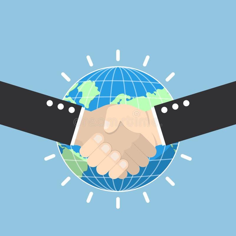 与地球地球的企业握手在背景 向量例证