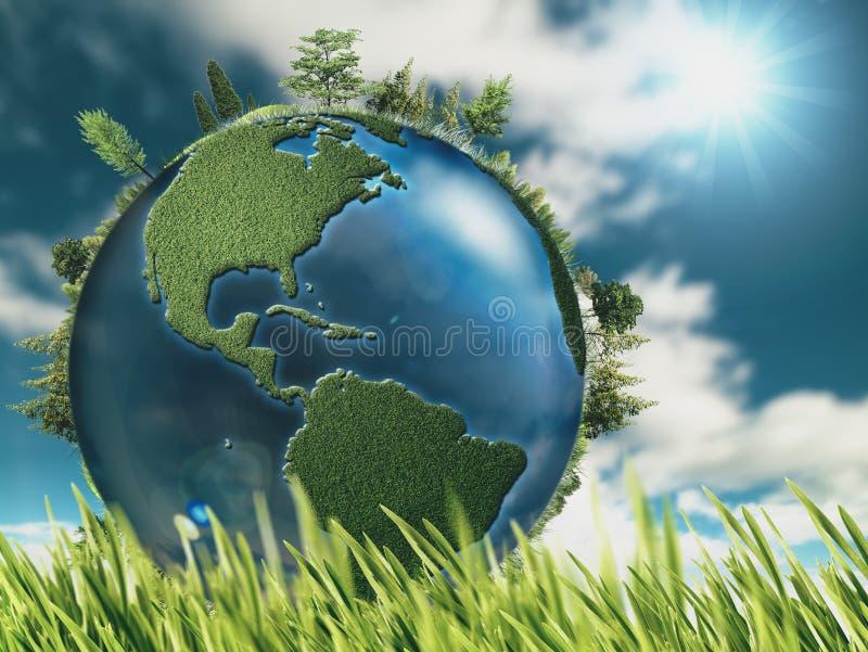 与地球地球的Eco自然本底 向量例证
