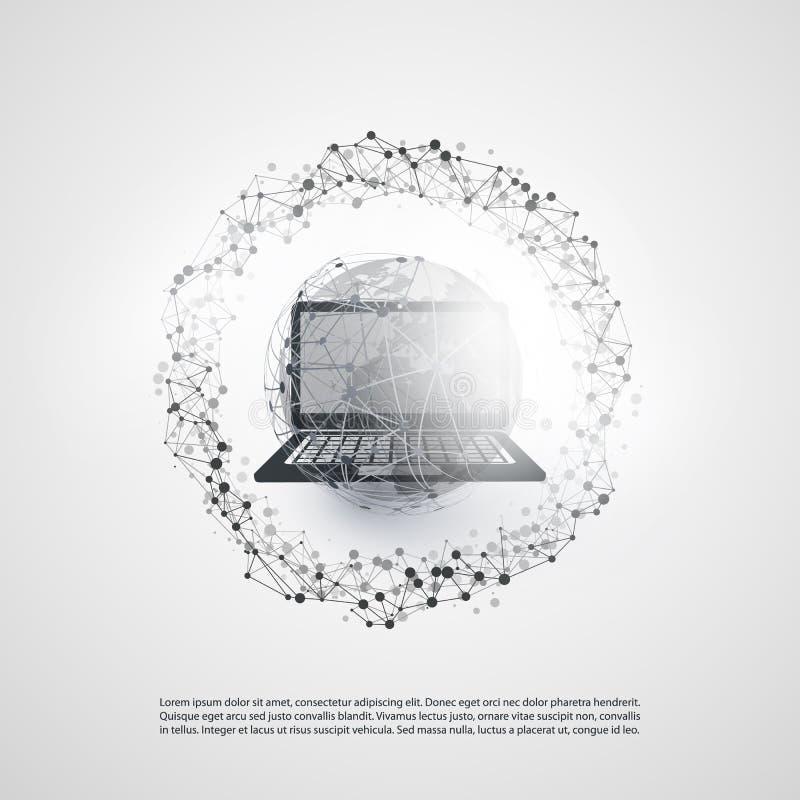 与地球地球,便携式计算机,无线移动装置的抽象云彩计算和全球网络连接构思设计 向量例证