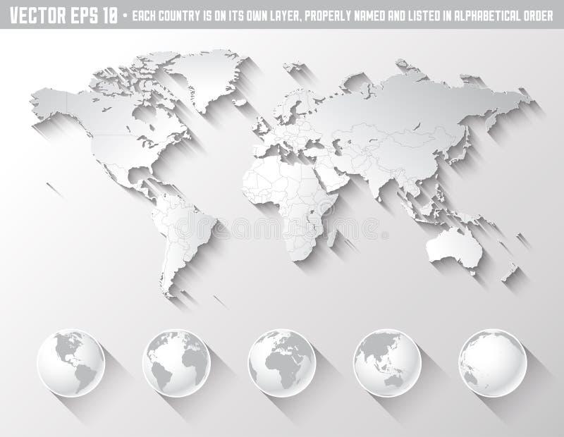 与地球的平的阴影世界地图 向量例证