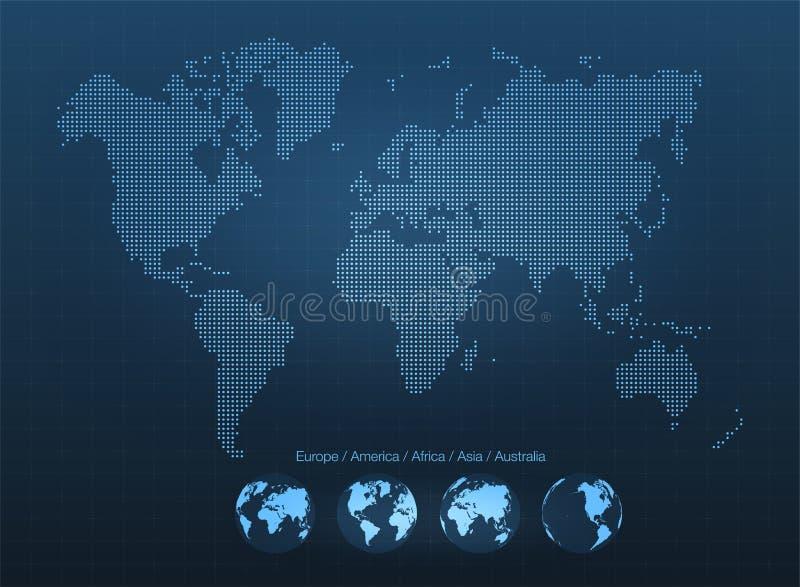 与地球的抽象世界地图 行星地球、网络、全球性通信、科学技术概念 库存例证