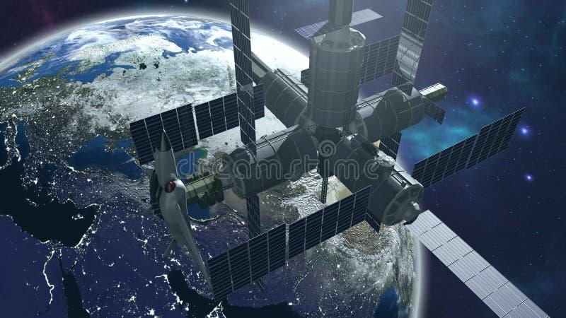与地球的空间站 皇族释放例证