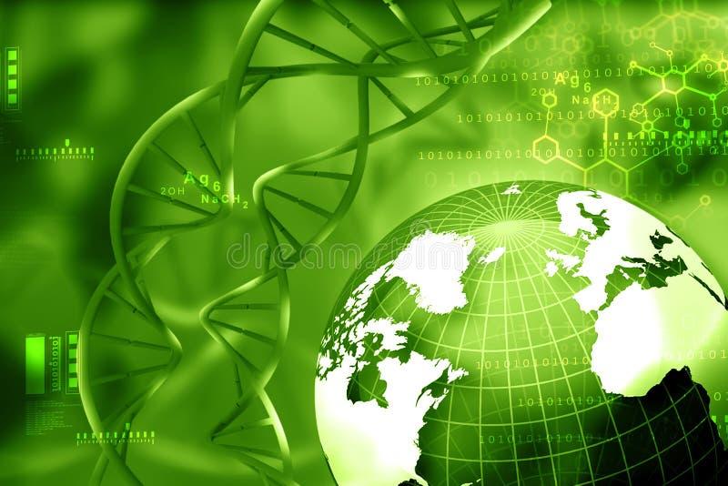 与地球的脱氧核糖核酸分子 向量例证