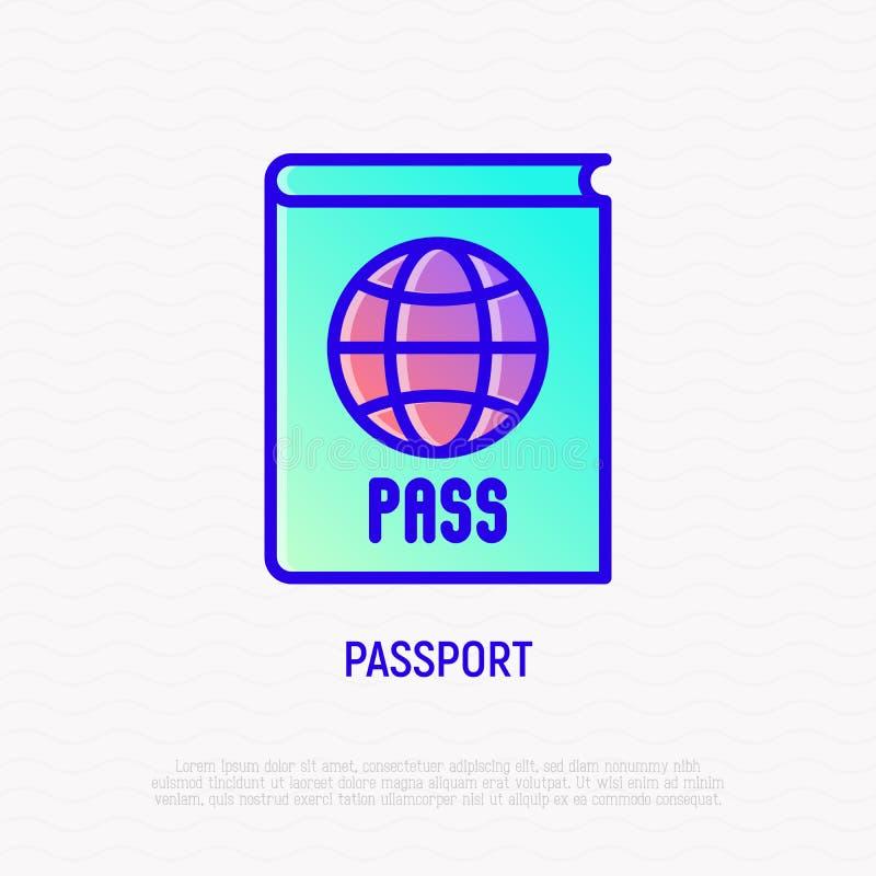 与地球稀薄的线象的护照 库存例证