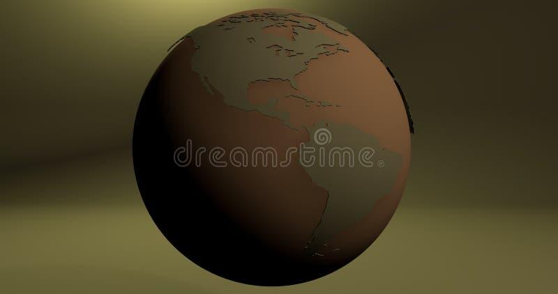 与地球行星的背景在绿色,显示美国大陆 皇族释放例证