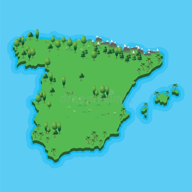 与地理风景的西班牙地图在蓝色海背景 与自然风景和蓝色海的例证西班牙地图 向量例证