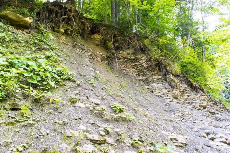 与地质地层的小山 库存图片