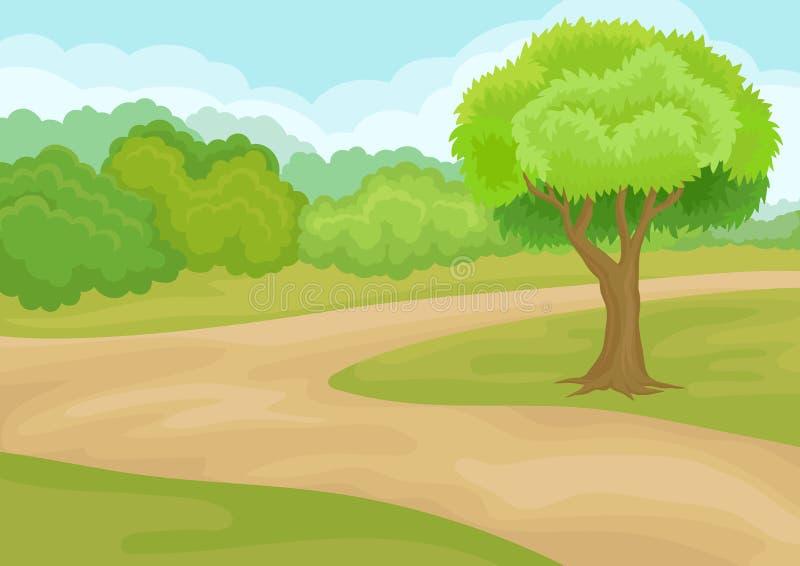 与地面路、鲜绿色的树、灌木和草的自然风景 抽象早晨自然夏天墙纸 平的传染媒介设计 皇族释放例证