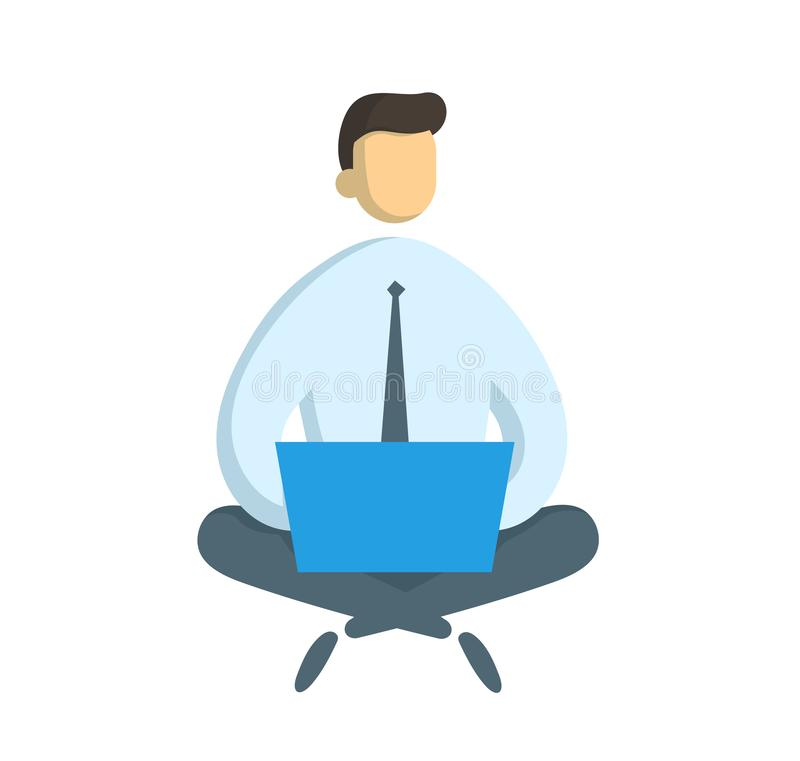 与坐在莲花姿势的膝上型计算机的商人 自由职业者和IT sprecialist、事务和通信 平的传染媒介 库存例证