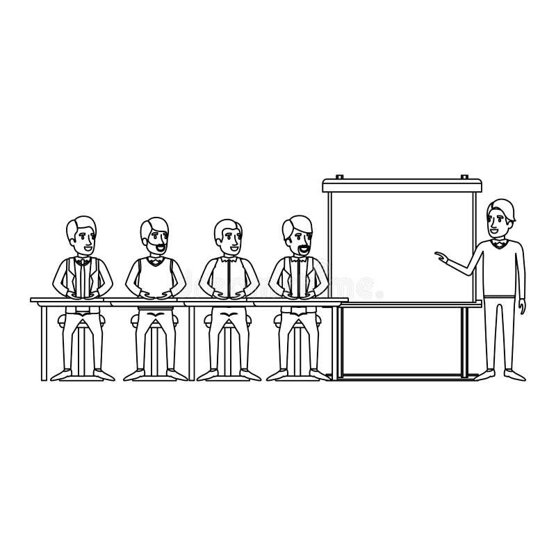 与坐在行政男性的一张书桌的人小组的单色背景在presentacion商人 皇族释放例证