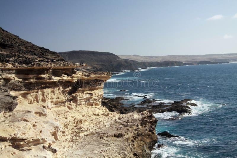与坚固性锋利的峭壁的粗砺的岩石海岸和强流在费埃特文图拉岛,加那利群岛,西班牙西北部 库存图片