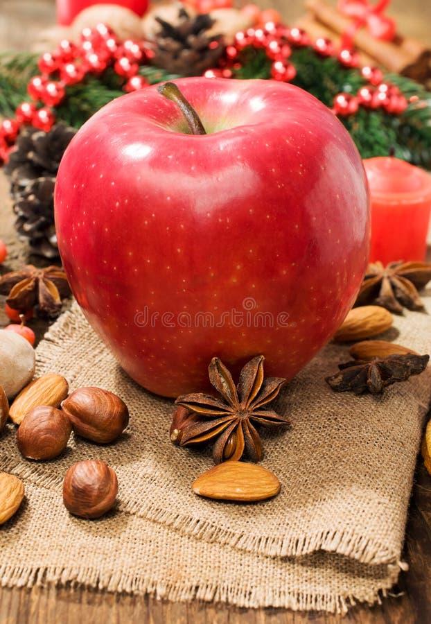 与坚果和八角的红色冬天苹果 免版税库存图片