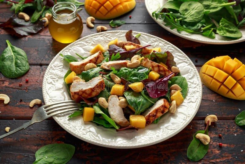 与坚果和菜的烤鸡芒果沙拉 健康的食物 库存照片