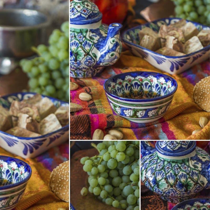 与坚果和葡萄的东方茶拼贴画和甜点 免版税库存图片