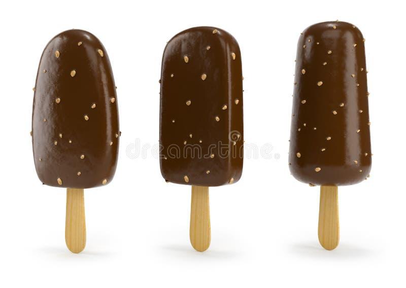 与坚果的巧克力冰淇凌在棍子3d例证 皇族释放例证