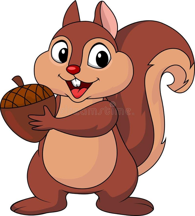 与坚果的灰鼠动画片 向量例证