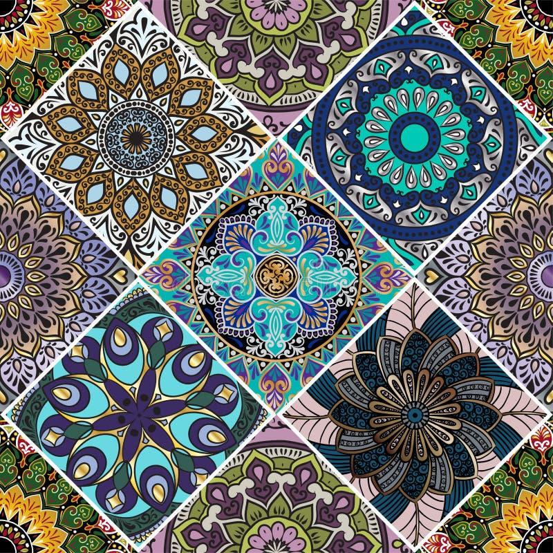 与坛场的一个五颜六色的花卉无缝的样式 皇族释放例证