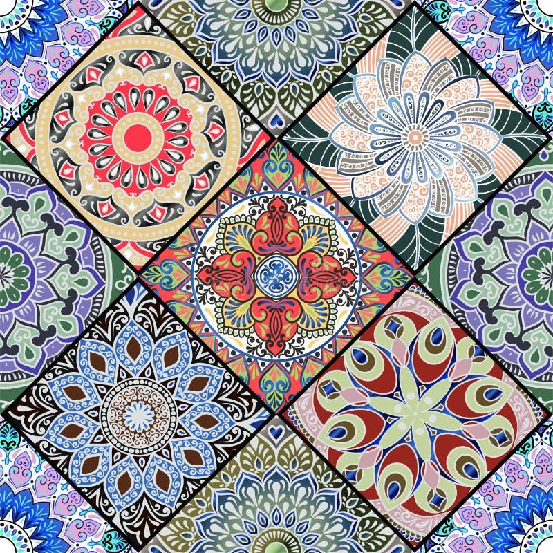 与坛场的一个五颜六色的花卉无缝的样式 库存例证