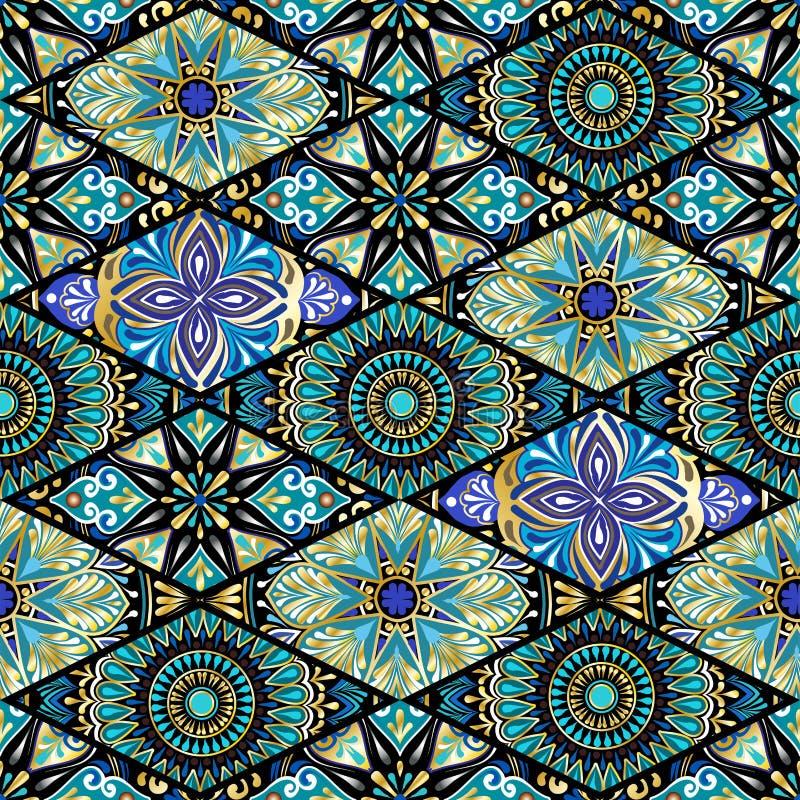 与坛场的五颜六色的花卉无缝的样式 皇族释放例证