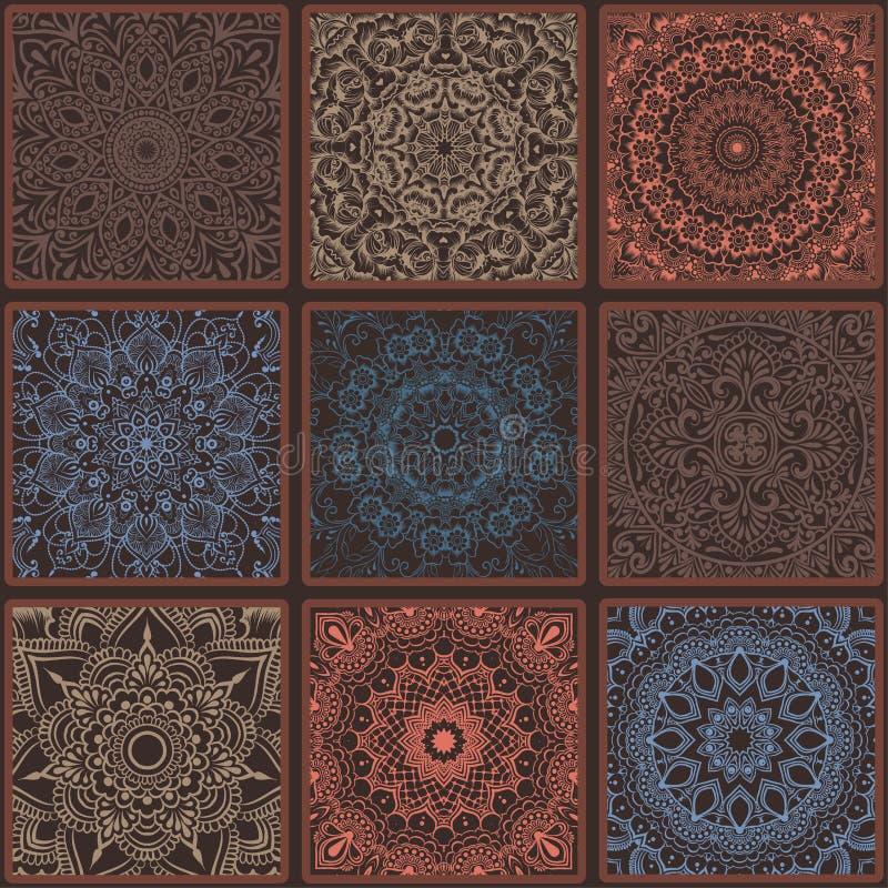 与坛场的五颜六色的花卉种族无缝的样式 皇族释放例证