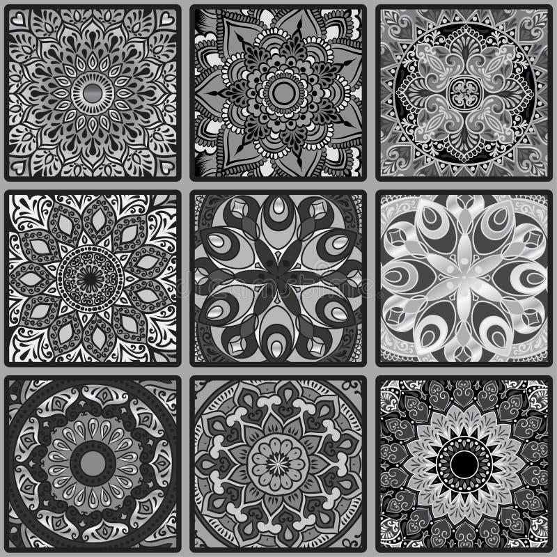 与坛场的五颜六色的花卉种族无缝的样式 库存例证