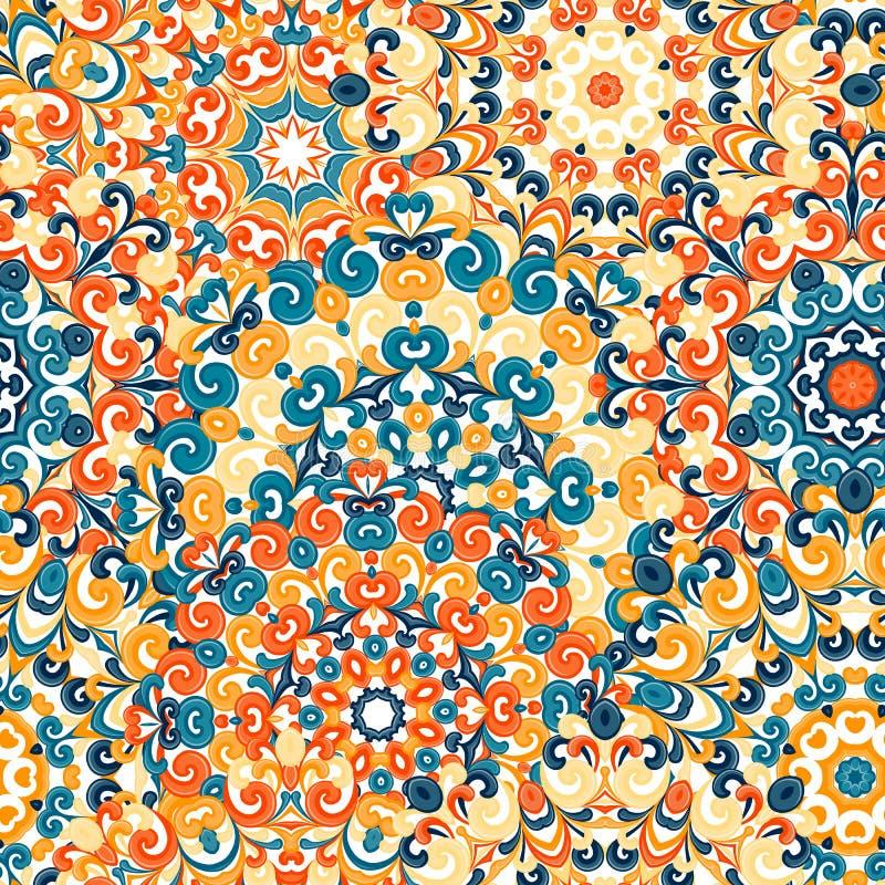 与坛场的无缝的五颜六色的种族样式在东方样式 与蓝色,黄色,桔子卷毛的圆的小垫布和 向量例证